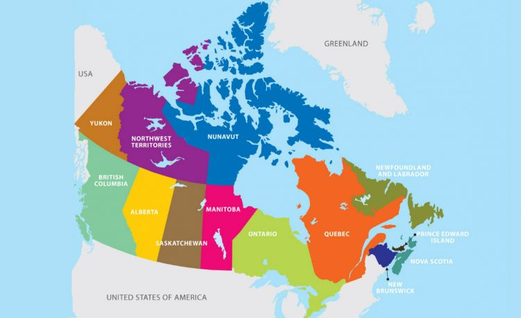 Map of Canada for Firebird Immigration Consultants