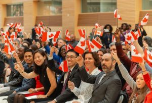 group of Canadian immigrations during induction ceremony